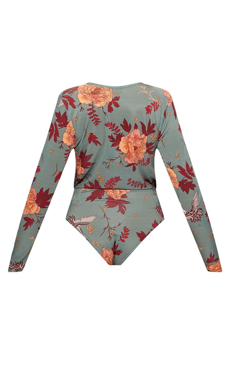 Dark Green Floral Printed Long Sleeve Thong Bodysuit  4