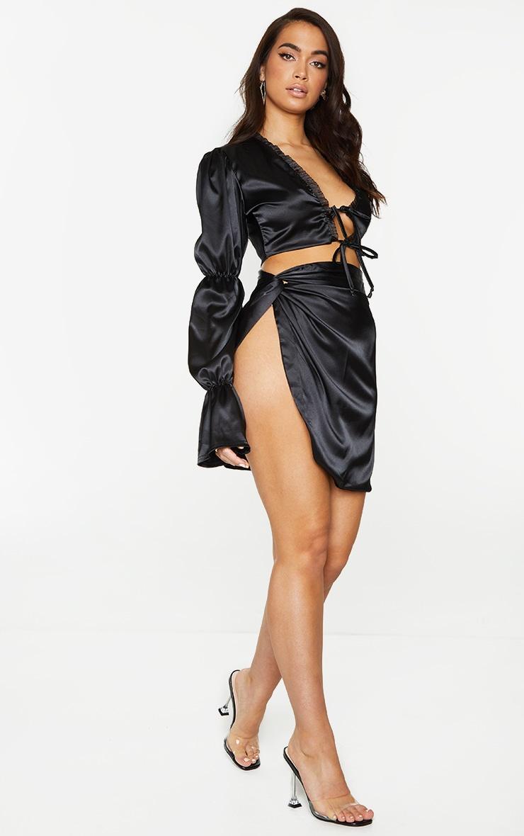 Black Satin Knot Detail Asymmetric Mini Skirt 1