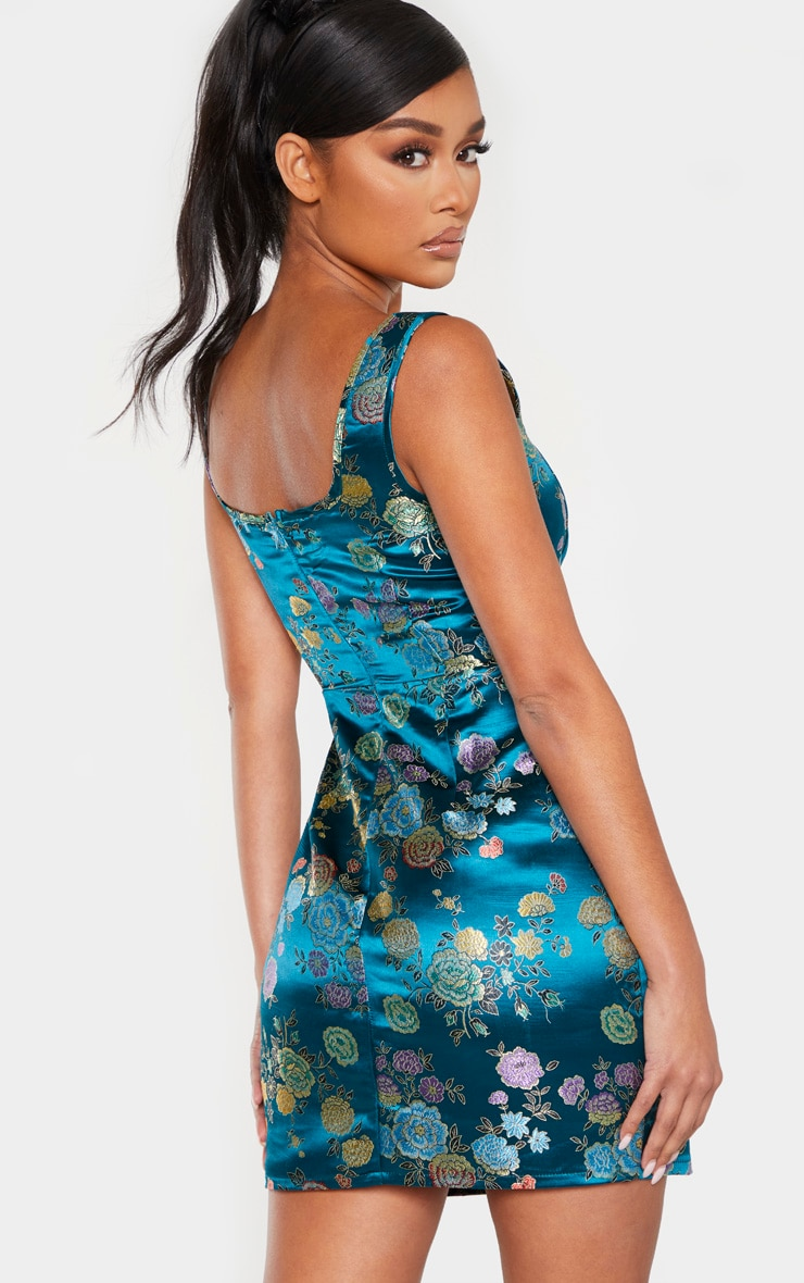 Petrol Blue Square Neck Jacquard Bodycon Dress 2