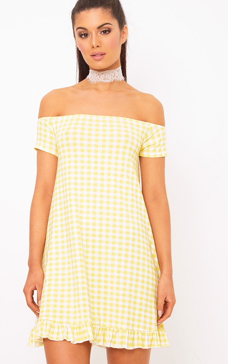 Lemon Gingham Bardot Frill Hem Swing Dress  1