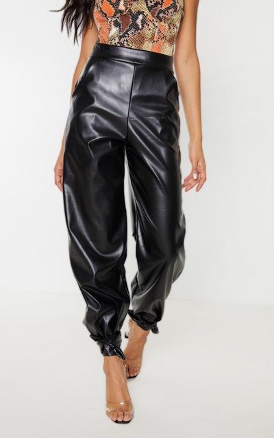 Black Faux Leather Tie Ankle Trouser