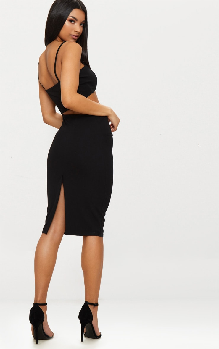 Black Strappy Square Neck Cut Out Detail Ruched Skirt Midi Dress  2