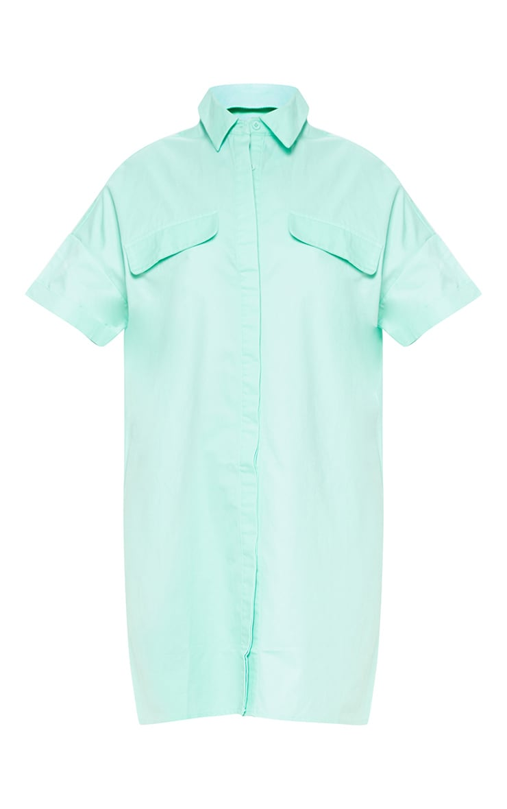 Petite Mint Oversized Utility Shirt Dress 3