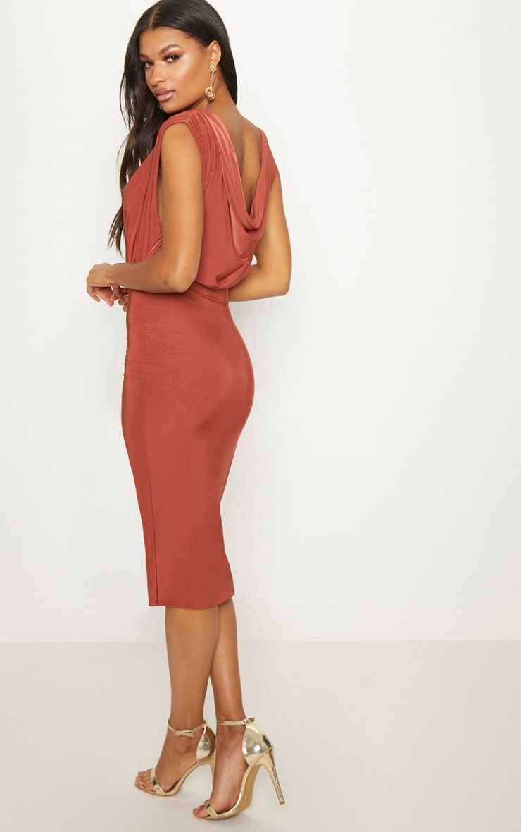 Rust Double Layer Slinky Cowl Neck Wrap Midi Dress 2