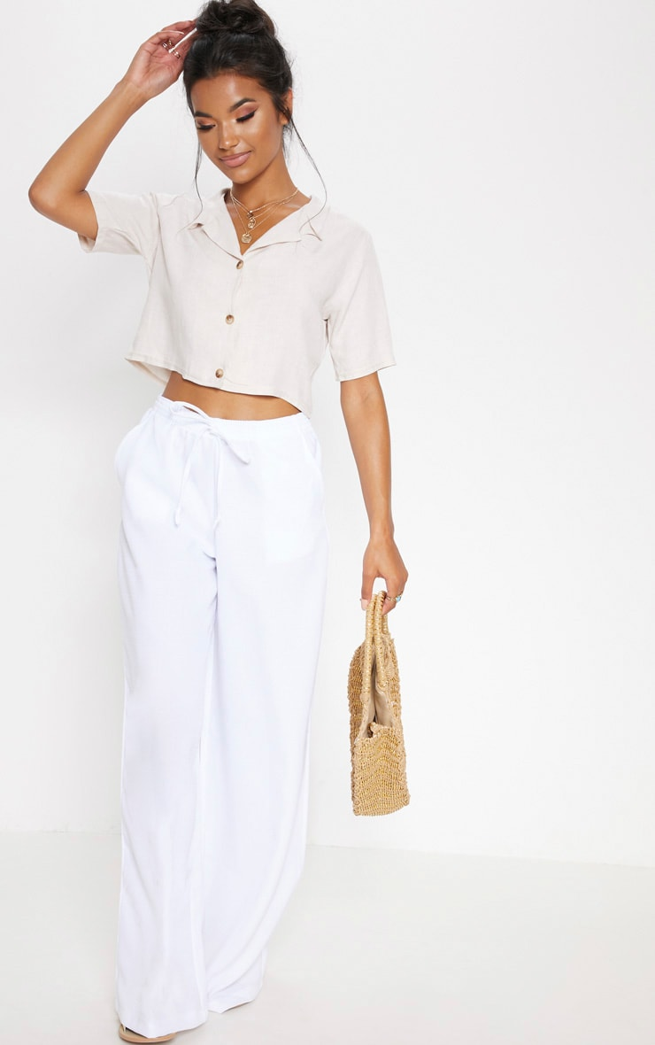 Stone Cropped Short Sleeve Button Shirt
