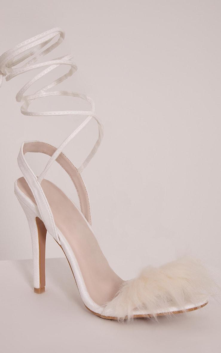 Missie White Fluffy Tie Heeled Sandals 5