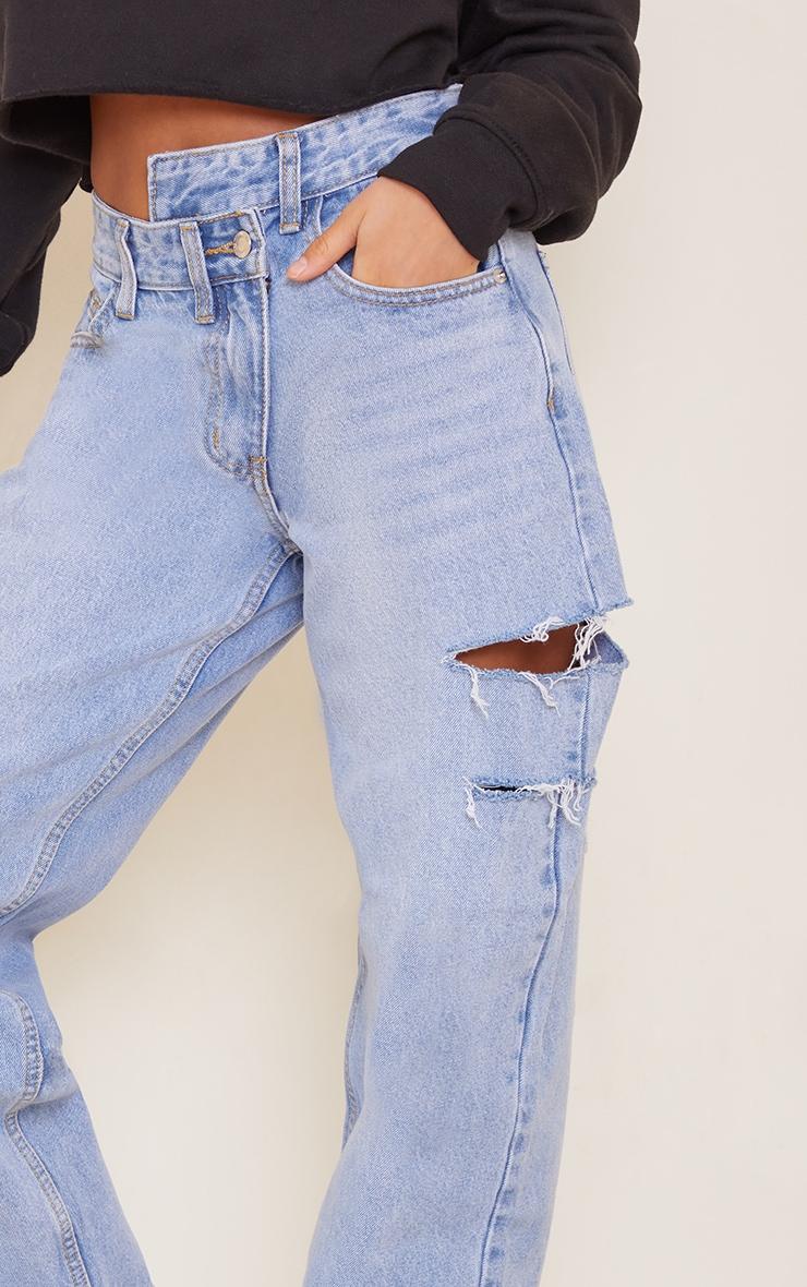 Petite Light Wash Baggy Low Rise Asymmetric Waistband Thigh Split Boyfriend Jeans 4