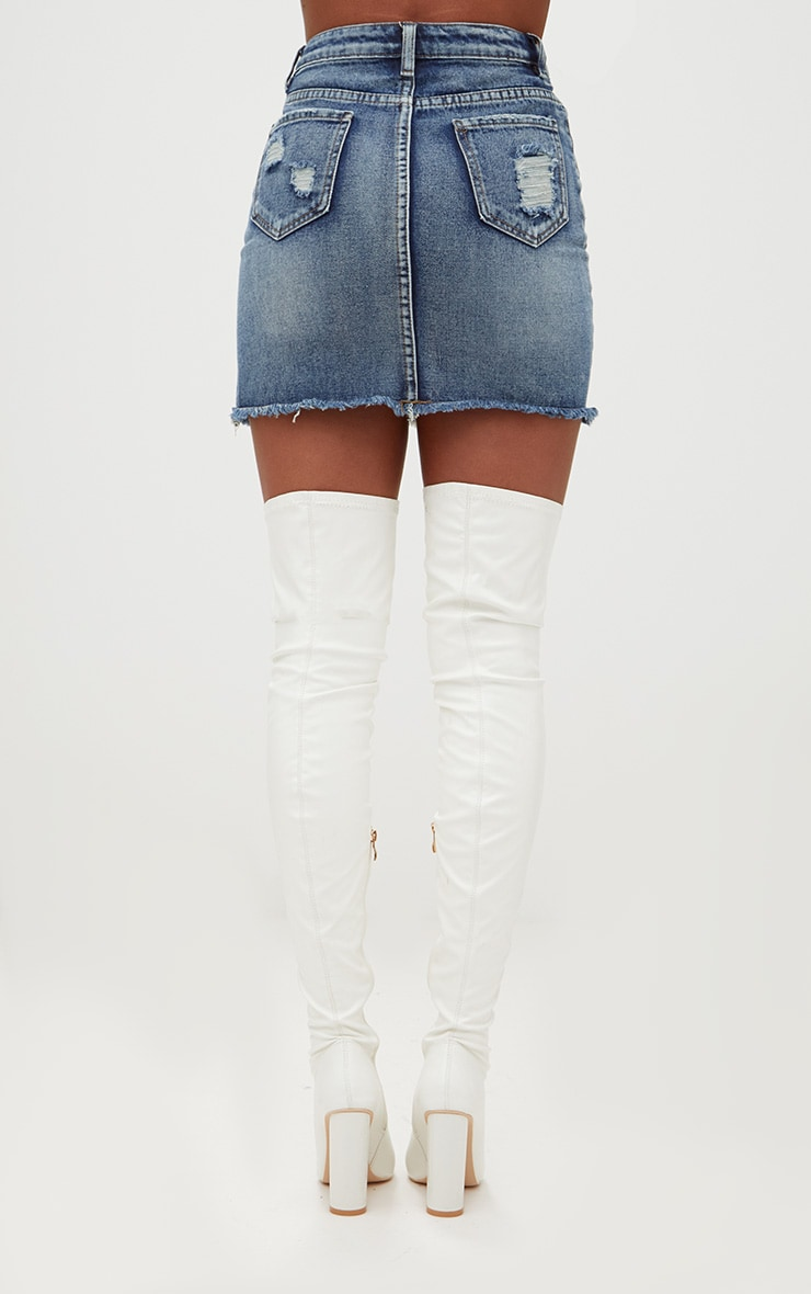 Vintage Wash Distressed Rip Denim Mini Skirt 4