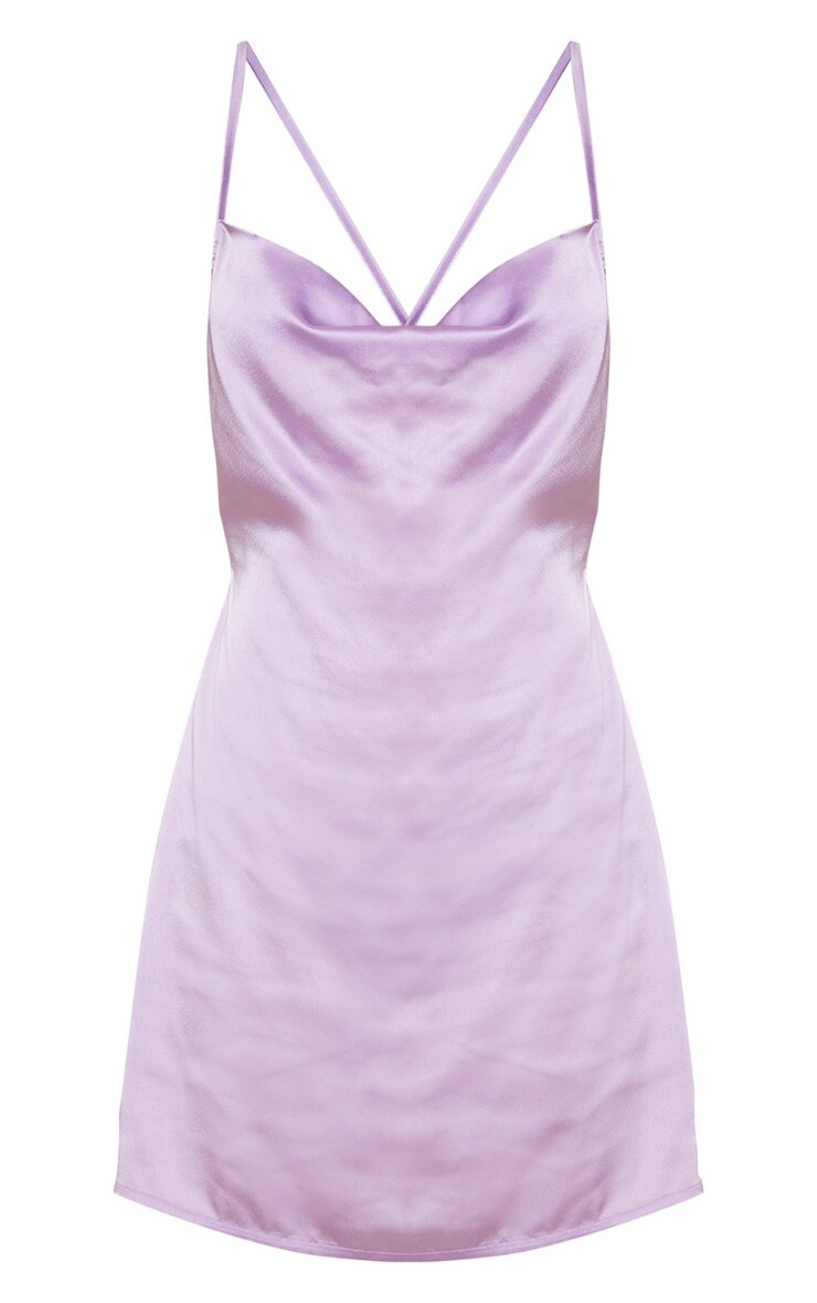 Lilac Satin Cowl Neck Shift Dress 3