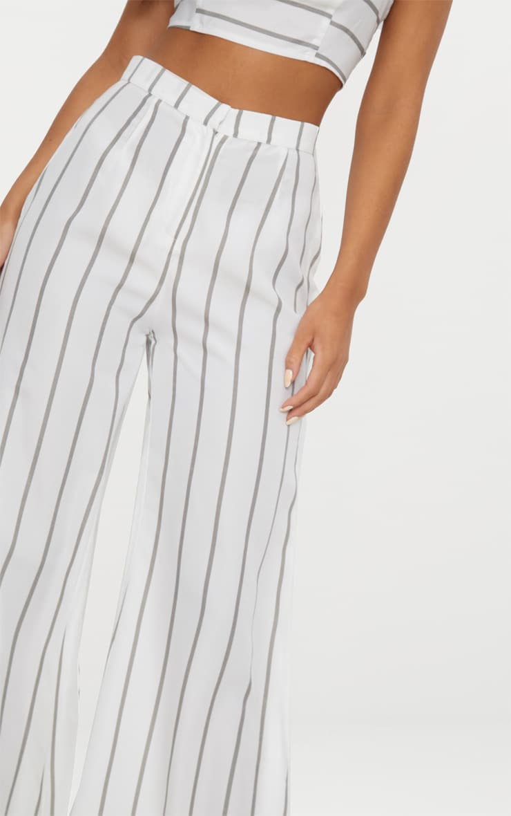 White Striped Wide Leg Trousers 4