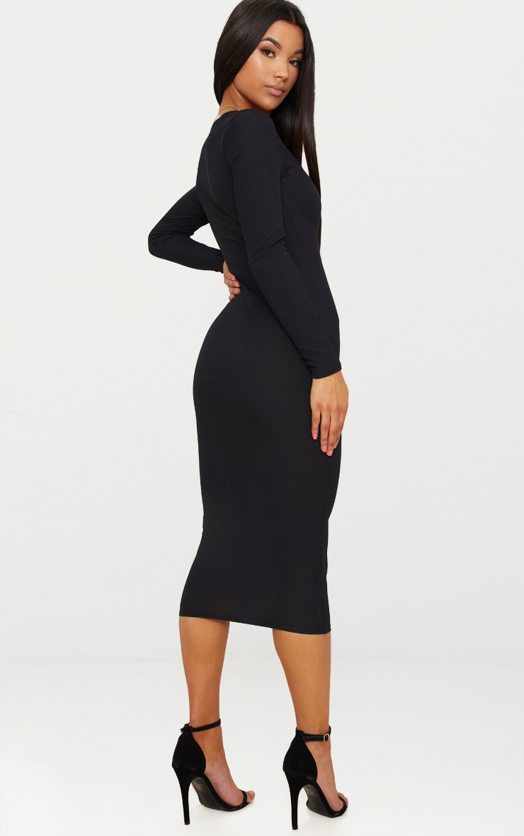 Black Ribbed Long Sleeve Midaxi Dress 2