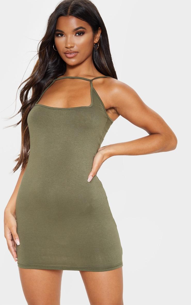 Olive Khaki Strappy Front Detail Bodycon Dress 1