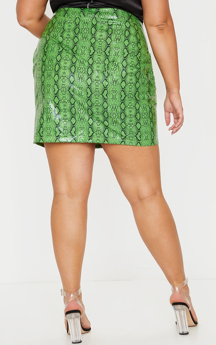 Plus Lime Faux Leather Snake Print Bodycon Skirt 3