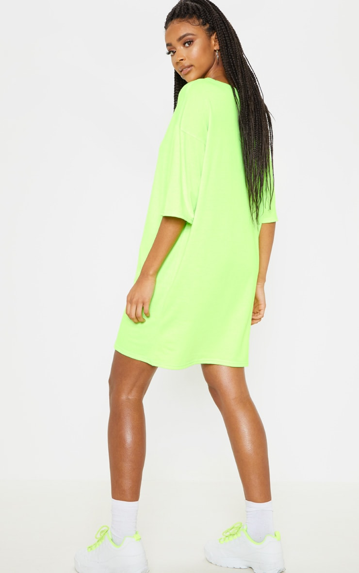 PRETTYLITTLETHING Lime Oversized Boyfriend T Shirt Dress 2