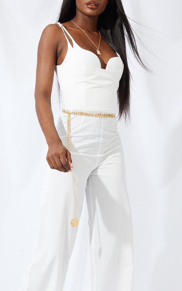 Tall Cream Cup Detail Wide Leg Jumpsuit 4