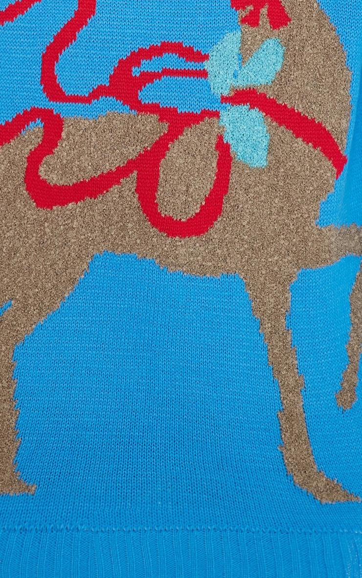 Noel Blue Reindeer Print Jumper-M/L 10
