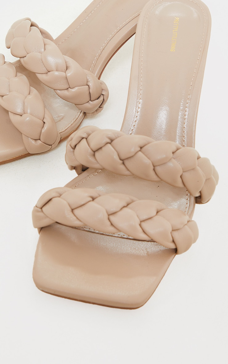Nude Wide Fit PU Square Toe Double Plaited Low Heeled Mules 2