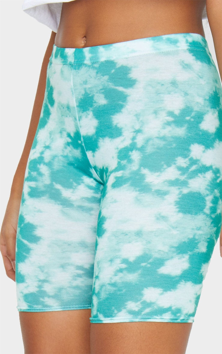Basic Green Tie Dye Bike Shorts 5