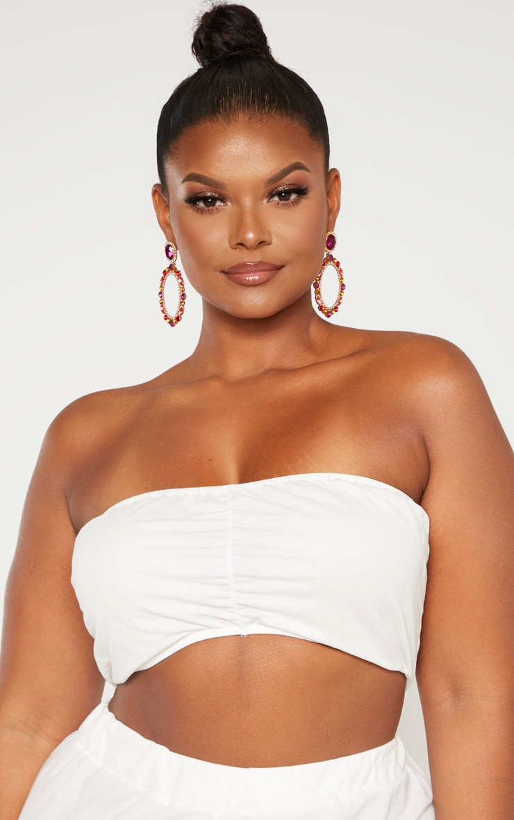 Plus Cream Woven Ruched Detail Bandeau Crop Top  5