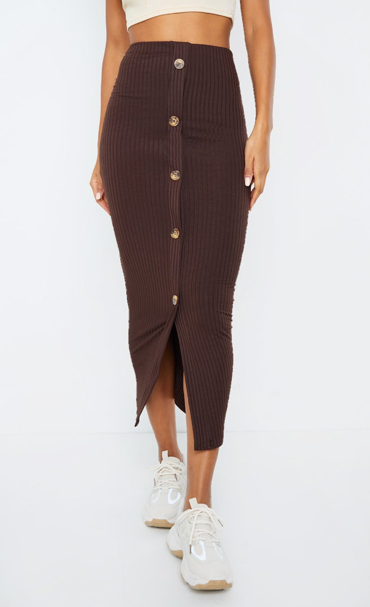 Chocolate Button Front Midaxi Skirt 2