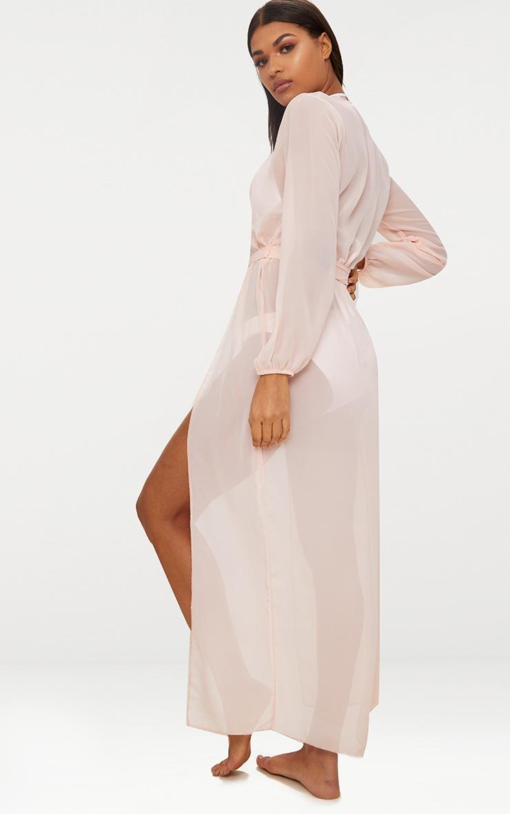 Baby Pink Tie Waist Maxi Kimono 2