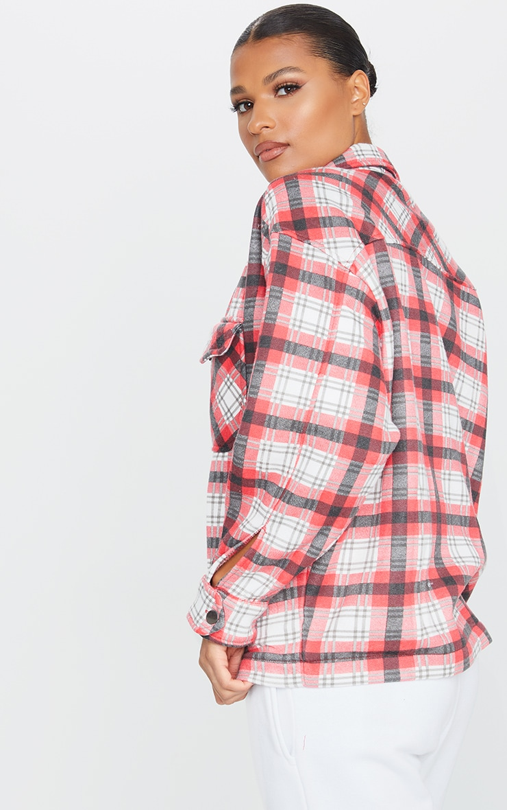 Red Checked Pocket Front Shacket 2