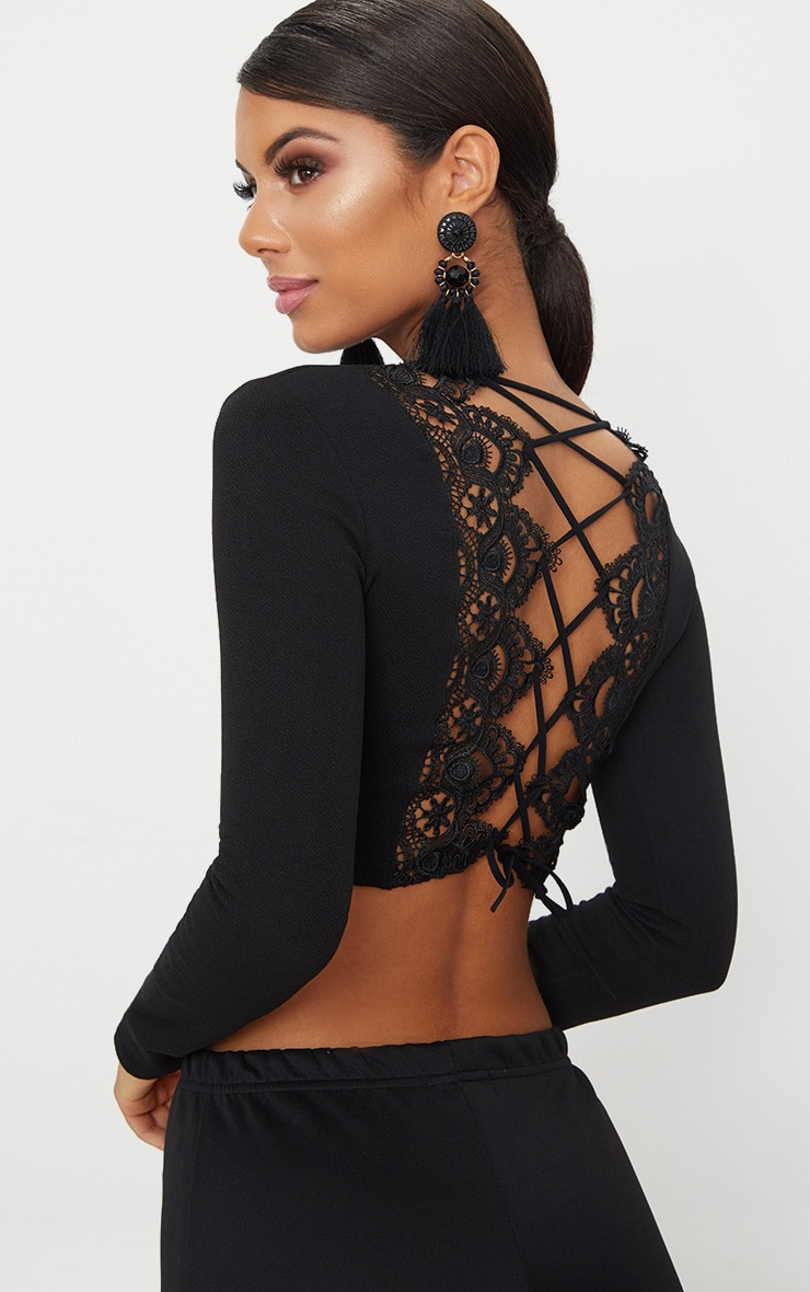 Black Lace Up Back Long Sleeve Crop Top 5