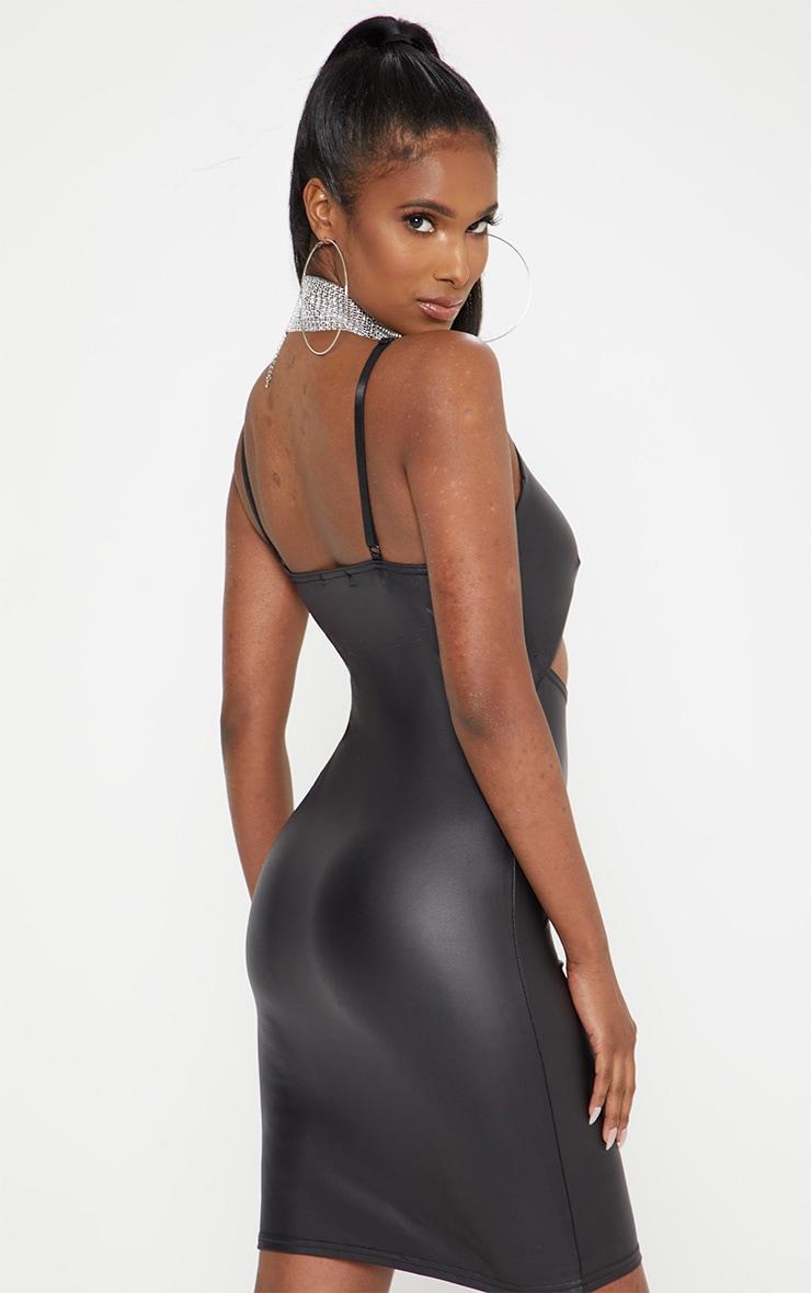 Black Strappy Cut Out PU Bodycon Dress 2