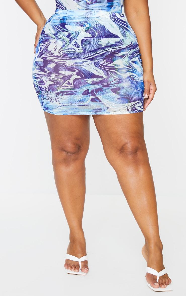 PLT Plus - Mini-jupe en mesh bleu imprimé vague 3