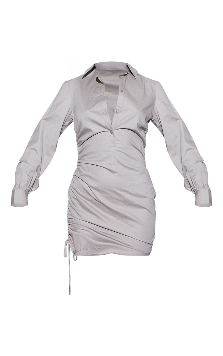 RENEW Washed Stone Ruched Side Fitted Shirt Dress 5