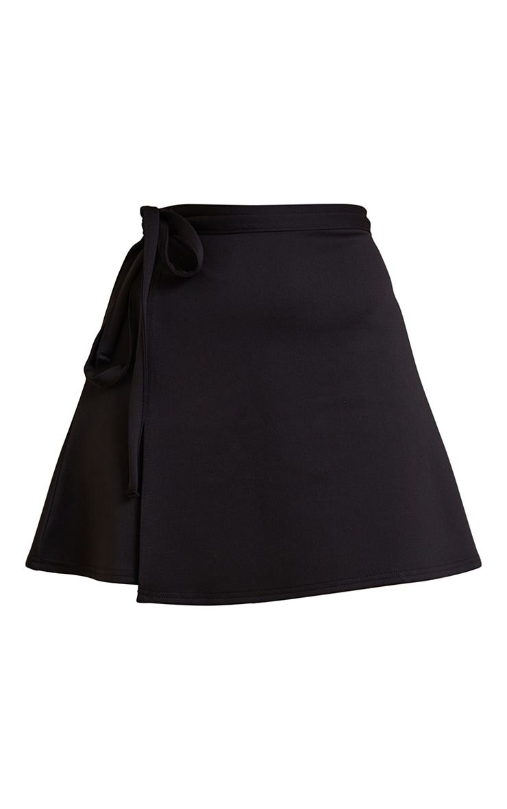 Black Wrap Scuba Mini Skirt 6