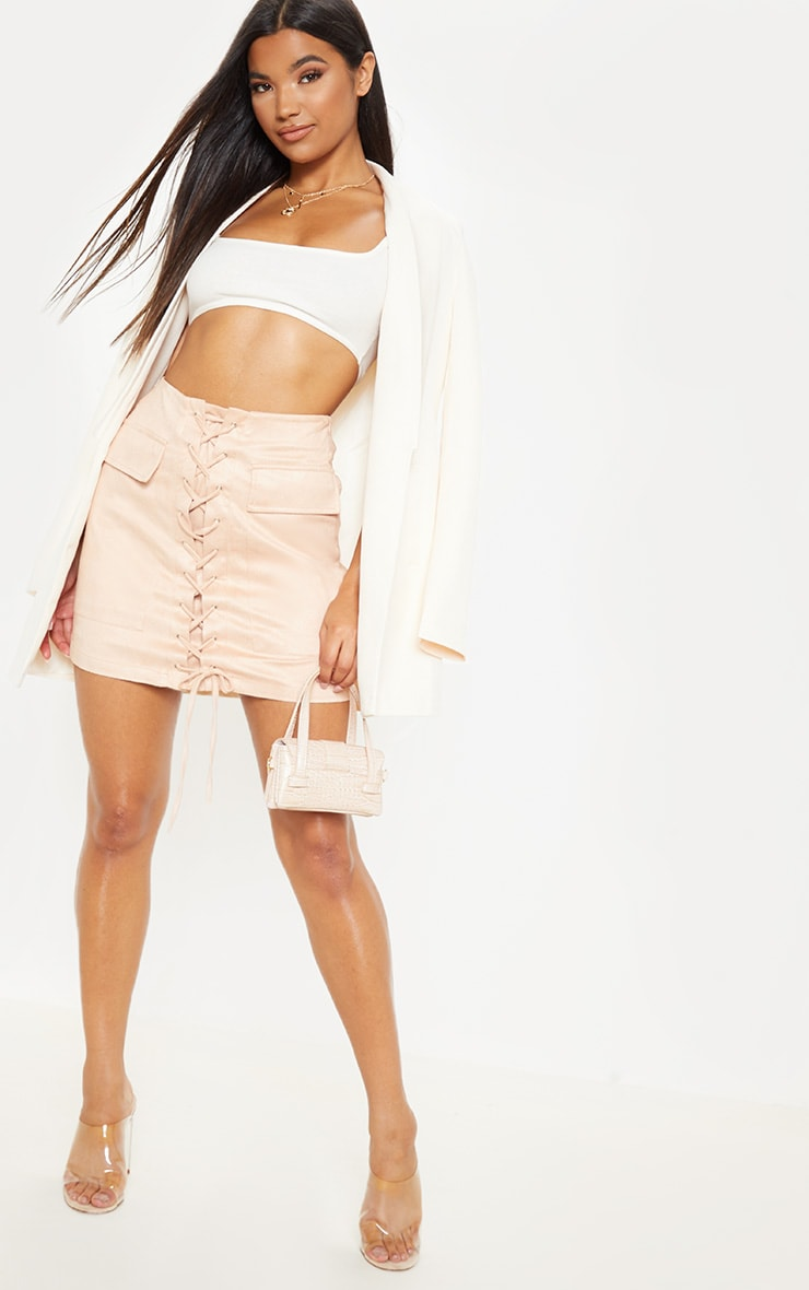 Ziva Blush Faux Suede Lace Up Mini Skirt 5
