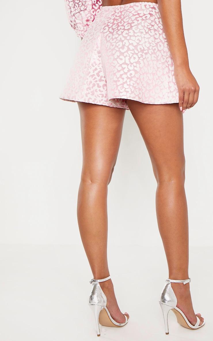 Pink Foil Print A Line Shorts 4