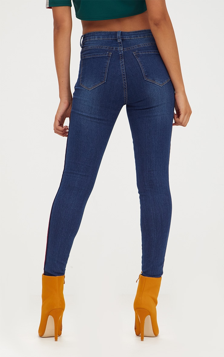 Dark Wash Sports Stripe Skinny Jean 4