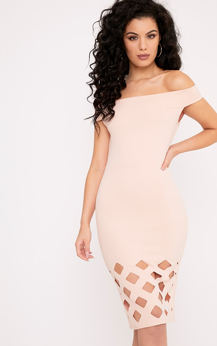 Cinny Nude Laser Cut Bardot Midi Dress 1