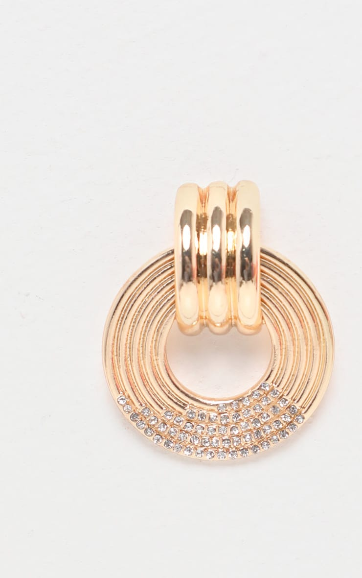 Gold All Over Diamante Small Circle Door Knocker Earrings 3