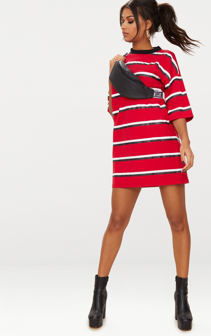 Red Contrast Stripe Oversized Boyfriend T Shirt Dress image 1