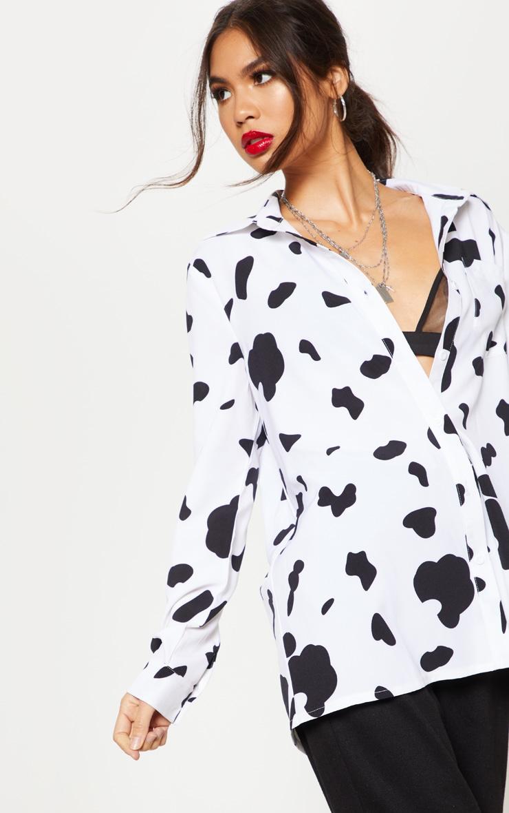 Monochrome Cow Print Oversized Shirt 5