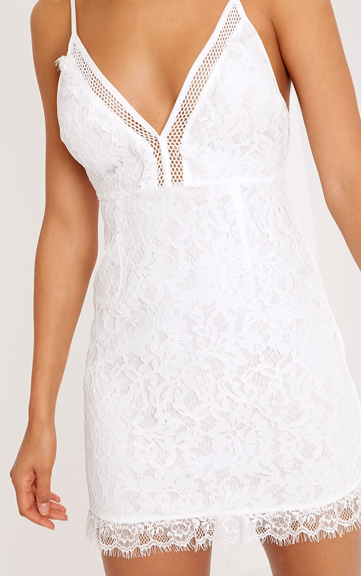 Giggi White Strappy Lace Shift Dress 5