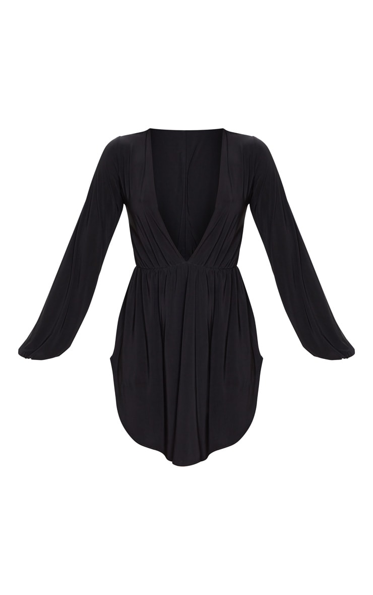Black Slinky Plunge Extreme Split Shift Dress 5