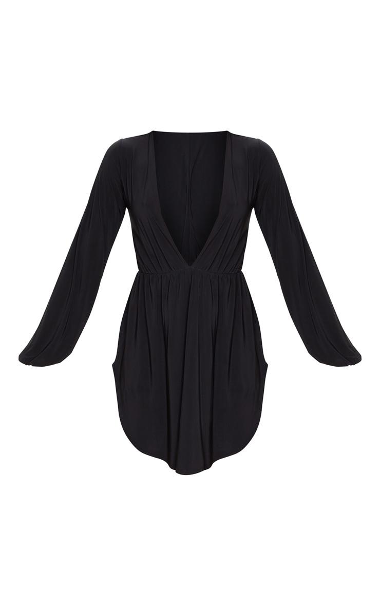 Black Slinky Plunge Extreme Split Shift Dress 6