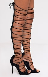 644b32f773d4 Colleen Black Thigh High Lace Up Heeled Sandals image 3