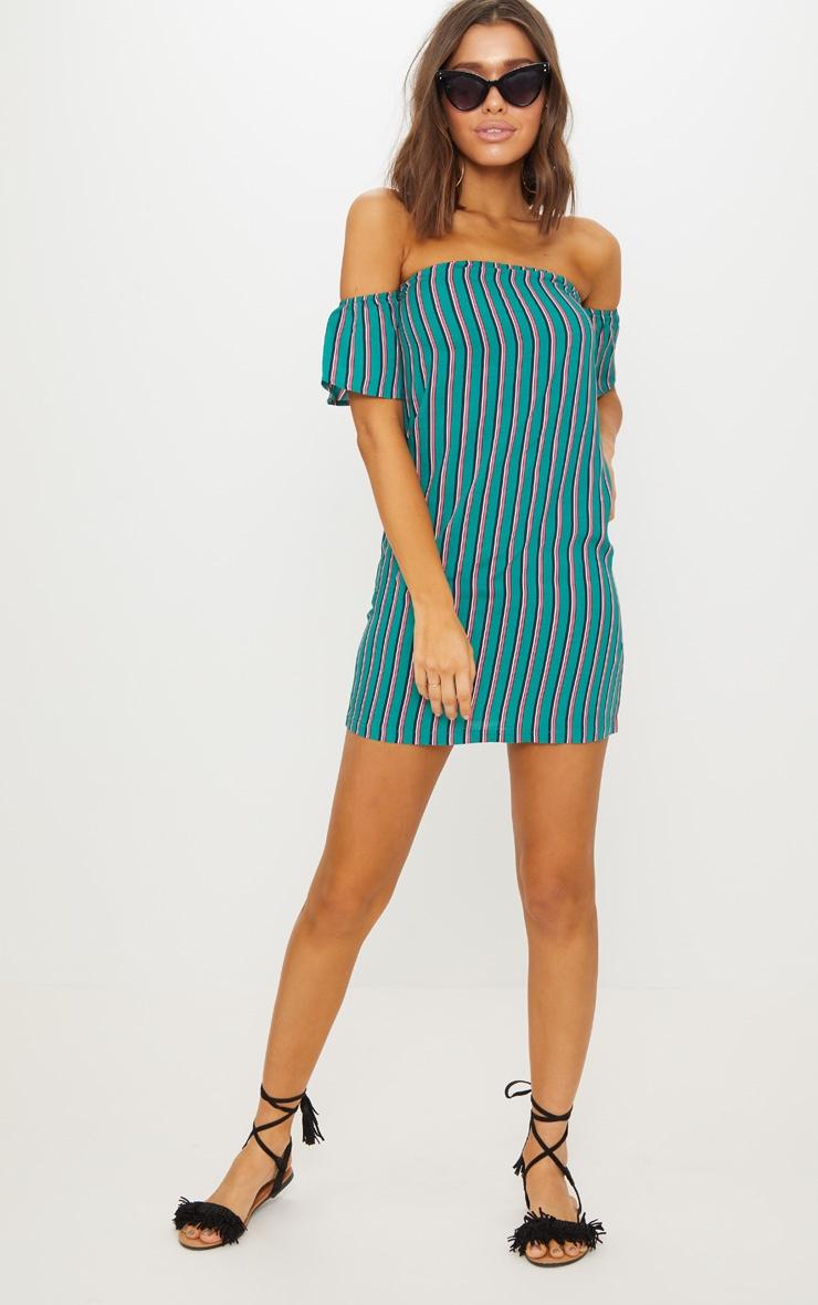 Green Stripe Print Bardot Smock Dress 3