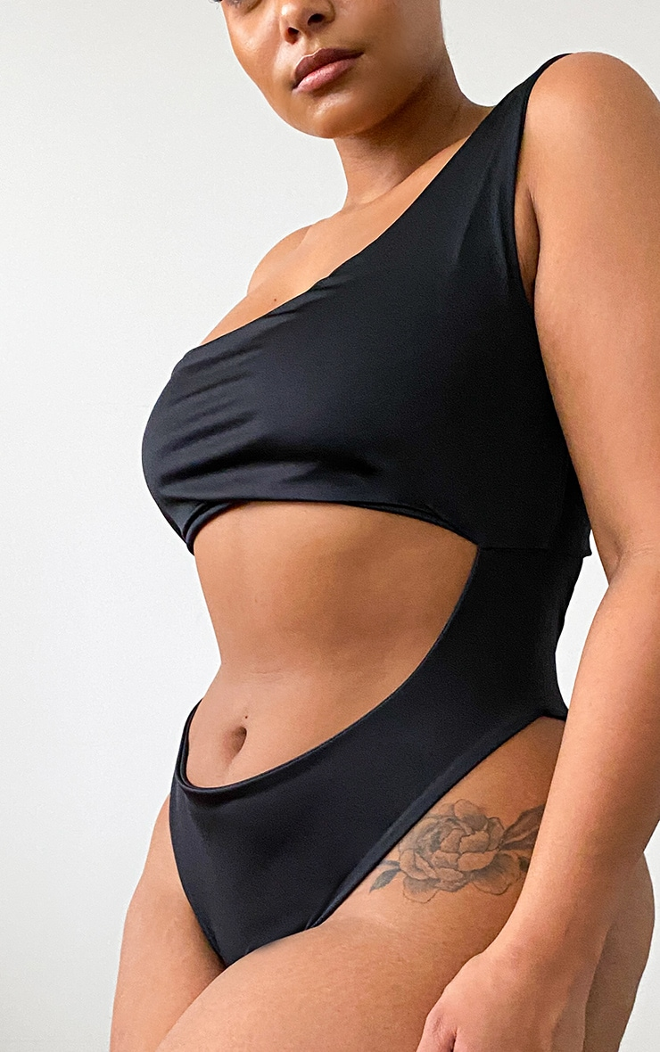 Plus Black One Shoulder Cut Out Swimsuit 4