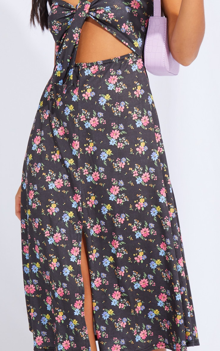 Petite Black Ditsy Floral Print Tie Front Strappy Swing Dress 4