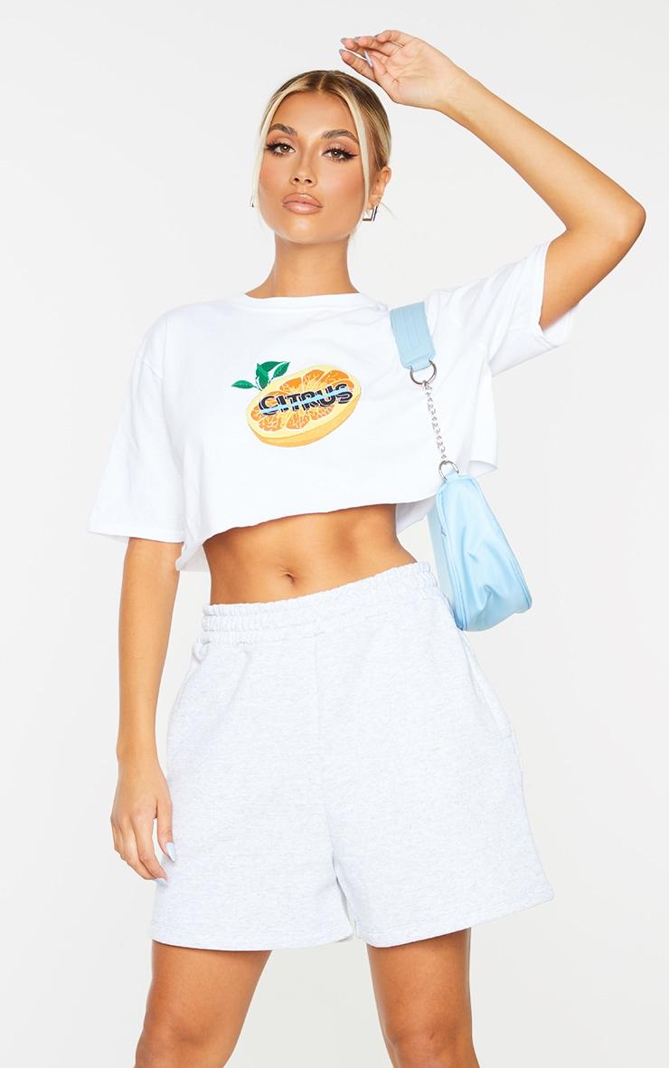 White Citrus Print Cropped T Shirt 1