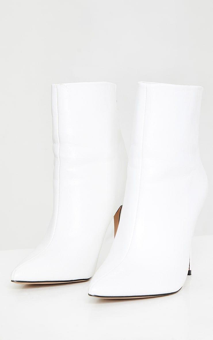 White Wide Fit Mid Heel Pointed Ankle Boots 3