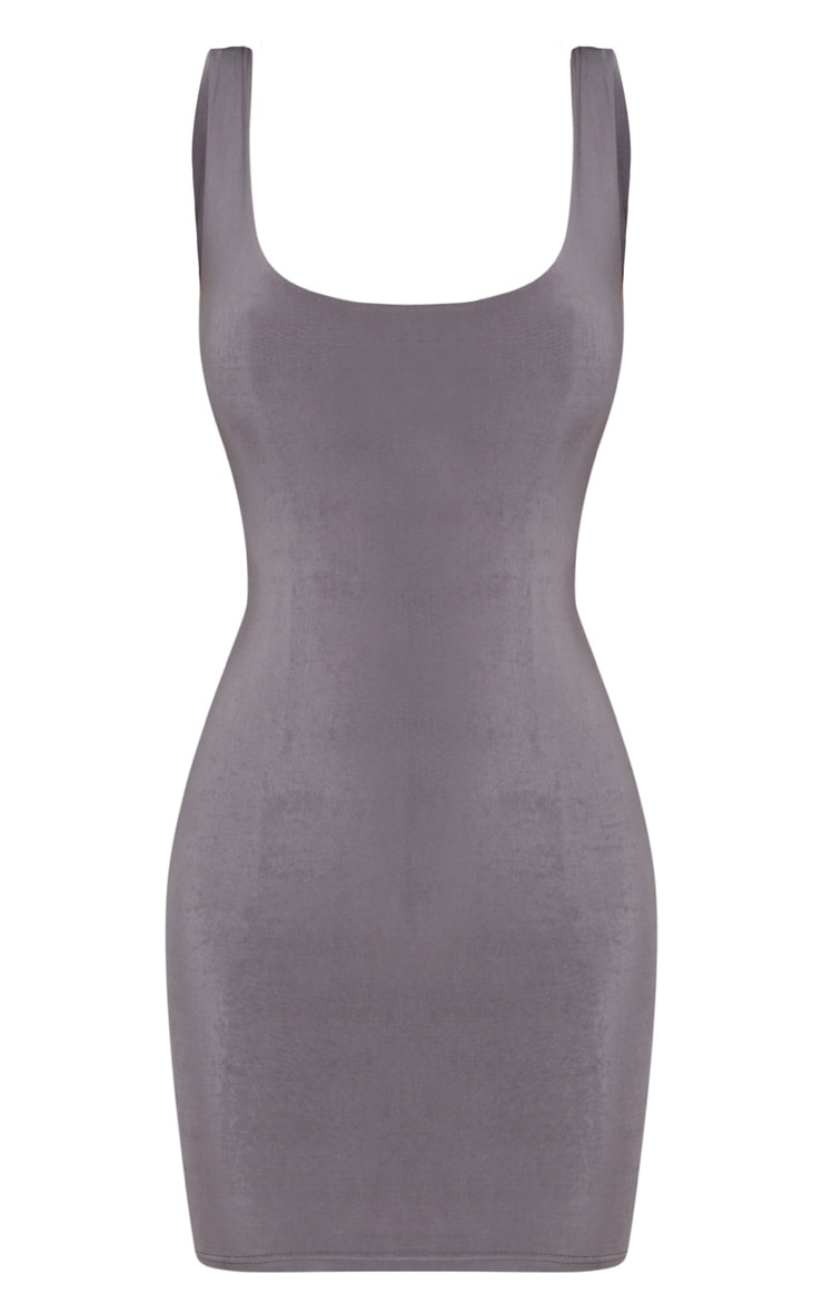 Elephant Grey Slinky Ruched Back Bodycon Dress 3