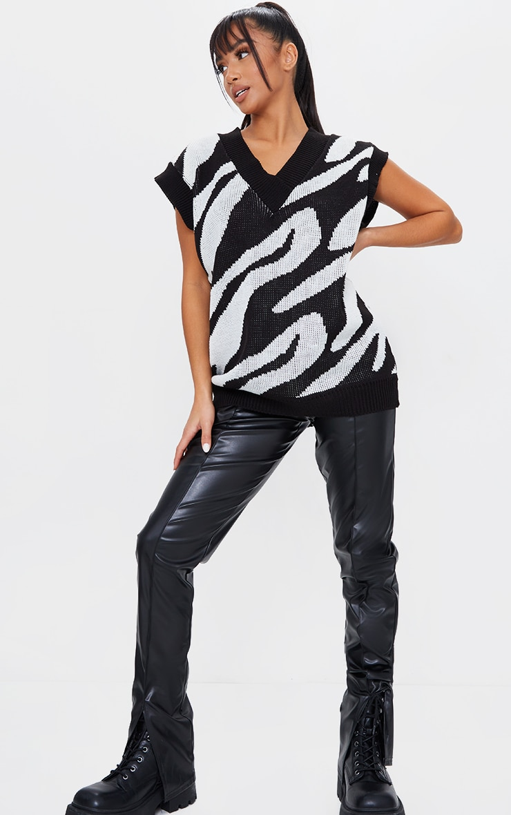 Petite Zebra Print V Neck Sleeveless Sweater 3