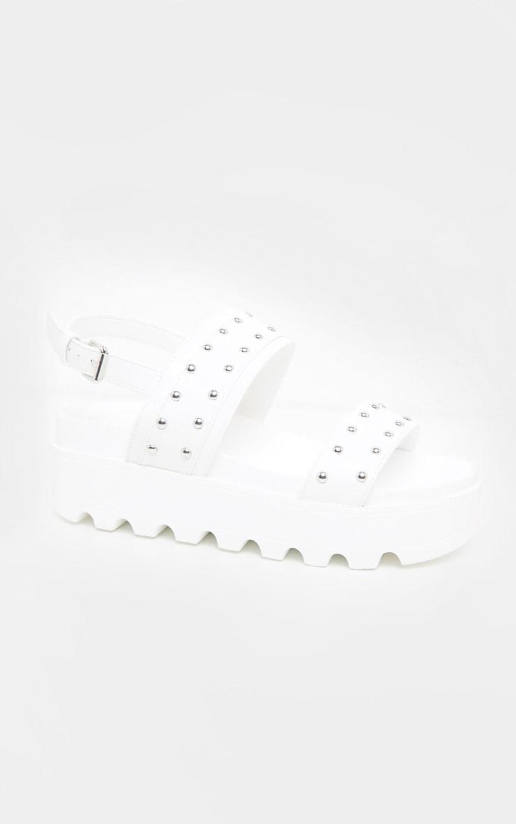 White Studded Twin Strap Chunky Flatform Sandal 3